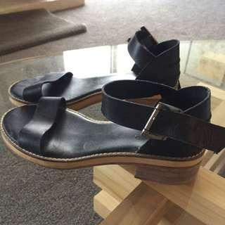 Whittner Black Mini Heel Sandals