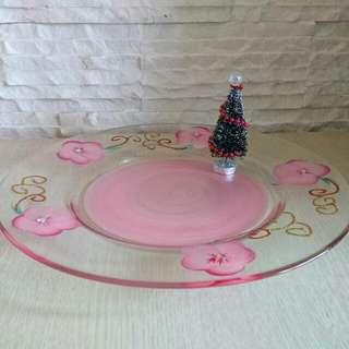 🚚 精緻彩繪玻璃盤/裝飾盤/手繪盤/餐盤/水果盤/圓盤/透明盤🍄28公分