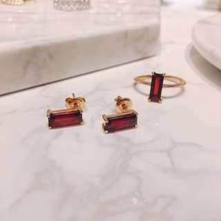 가넷 귀걸이, 가넷 원석 반지(13호)