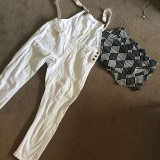 White overall Jeans And Shorts Sz12