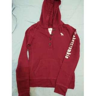 🚚 abercrombie - 酒紅色經典保暖帽T hoodies