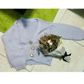 轉賣Grace GiFt 薰衣草紫寶石毛海針織外套