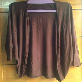 Brown Crop Cardigan