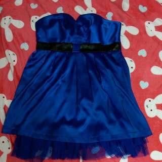 寶藍鍛面平口小禮服