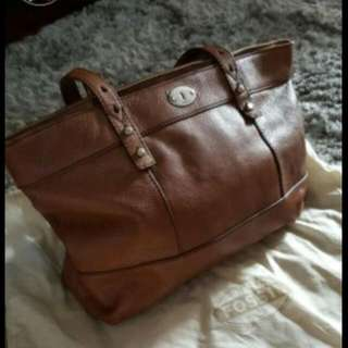 Authentic FOSSIL Genuine Leather Tote