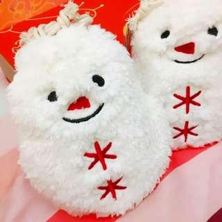 日本可愛絨毛雪人娃娃餅乾限定聖誕組 交換禮物 花型餅乾5枚入 檸檬2/草莓3