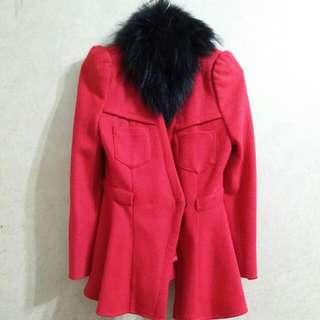 紅色中長版大衣