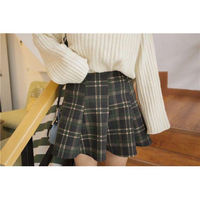 韓國複古顯瘦格子高腰百摺裙