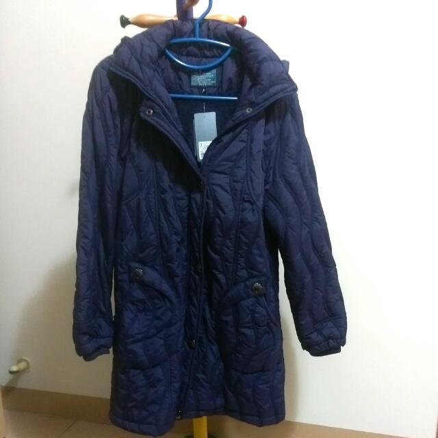 長版刷毛外套-深紫 女大衣 長版外套 刷毛外套
