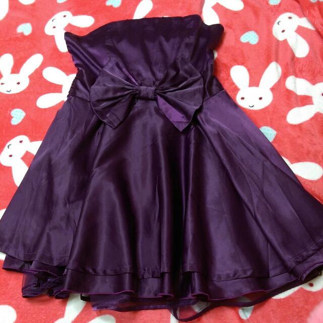 紫色緞面平口小禮服