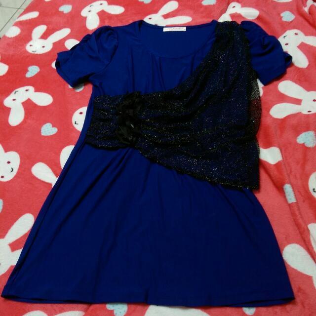 寶藍色垂墜感洋裝