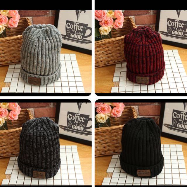 韓版时尚針織帽 潮流新款貼布帽可愛百搭毛線帽 針織帽毛帽 情侶百搭毛帽