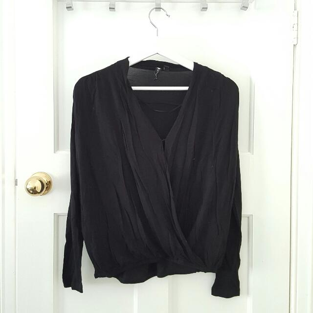 Black Draped Cotton Top