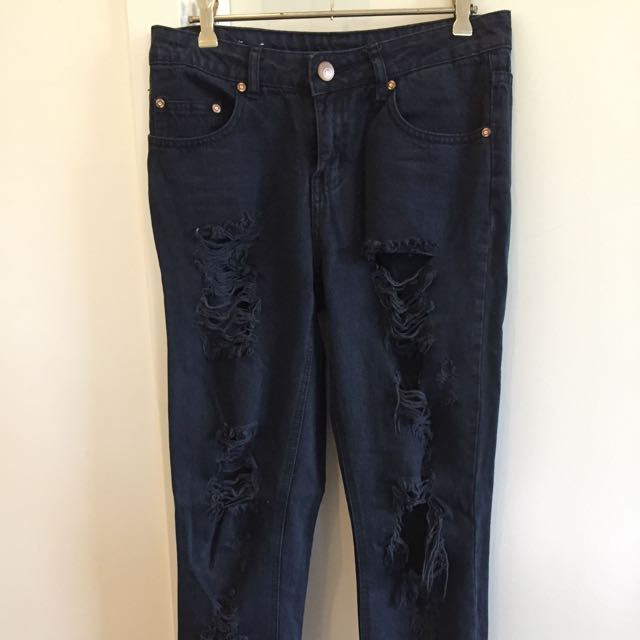 Cotton On Ripped Blue/black Boyfriend Jeans
