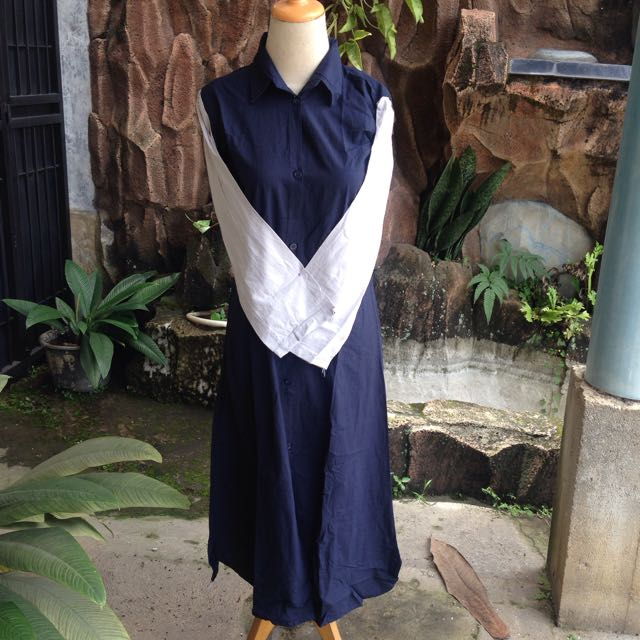 Dress Shirt Katun Warna Navy Kombinasi Abu