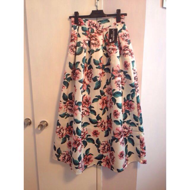 Floral Ballgown Silk Maxi Skirt