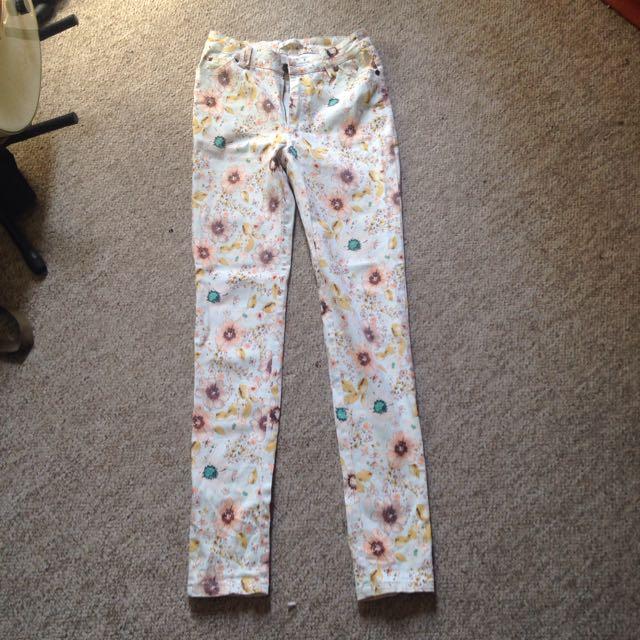 Floral Jeans Size 6