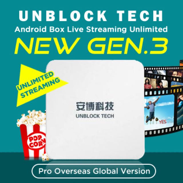 UNBLOCK Tech GEN 3 MEDIA TV BOX UBTV Gen3 Enhanced S900 Android Box Live  Streaming Unlimited 1000+ Free Channels - 100% Authentic- LOCAL SG