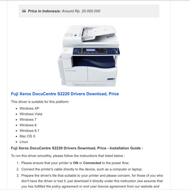 Fuji Xerox DocuCentre S2220, Mobile Phones & Tablets, Others