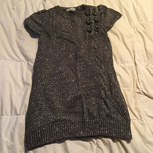 Girls Glitter Sweater dress With Bow Details