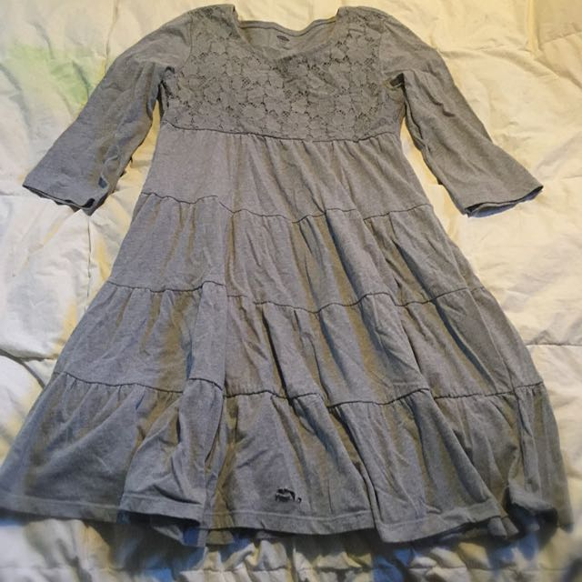 Girls Grey Dress With Lace Details