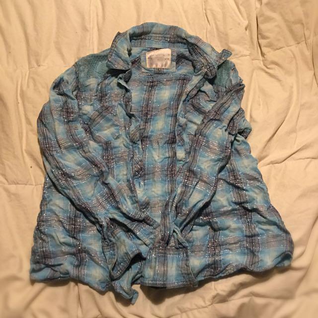 Girls Light Blue Plaid Shirt With Sequin Details