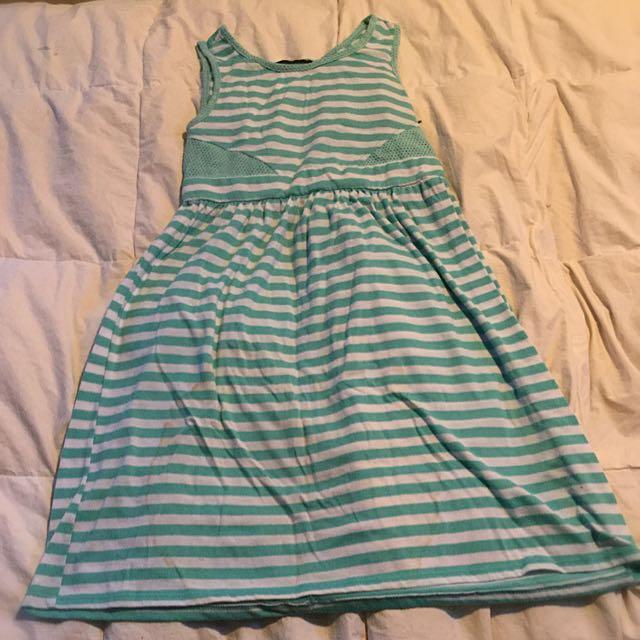 Girls Sporty Striped Sun Dress