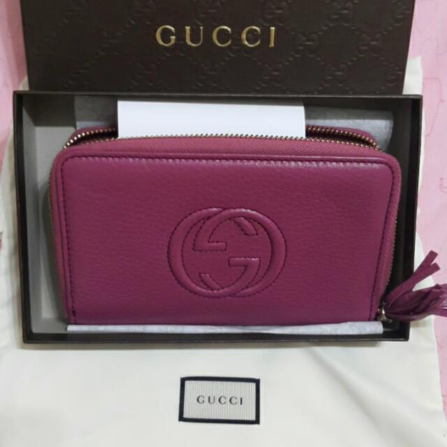 GUCCI SOHO系列 GG logo圖騰拉鍊多卡機能中夾- 粉紫
