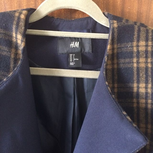 H&M Double Breasted Checkered Coat