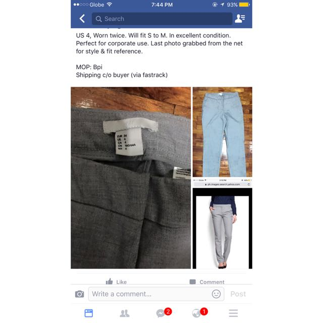 H&M Grey Straight-cut Trousers