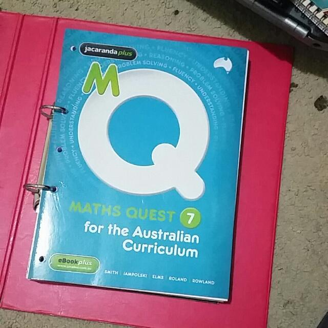 Jacaranda plus Maths Quest 7  Textbook and workbook Good revision for entering year 7
