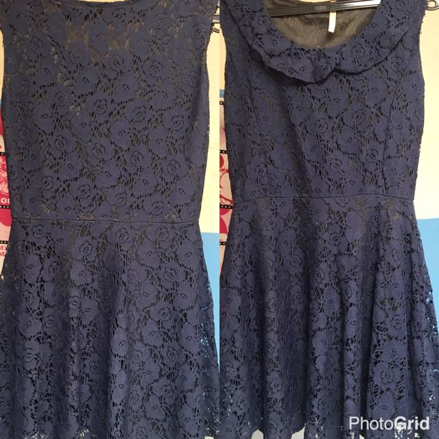 lace dress blue navy