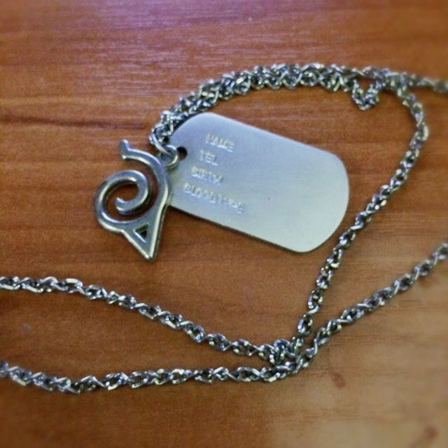 Naruto Dog Tag Necklace