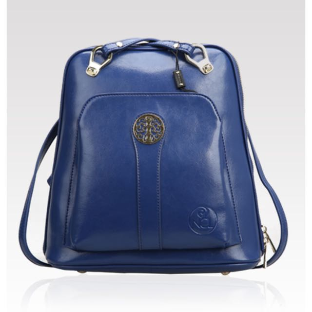 Niclaire Simple 3 Way Multifunction Backpack/Cross Body Bag in Blue