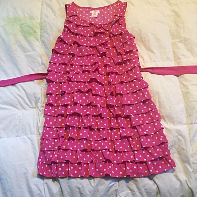 Pink Polka Dot Dress With Sash