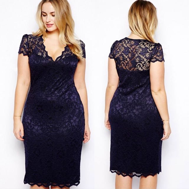 Plus Size] Short Sleeve Lace Dress In Navy, Women\'s Fashion ...