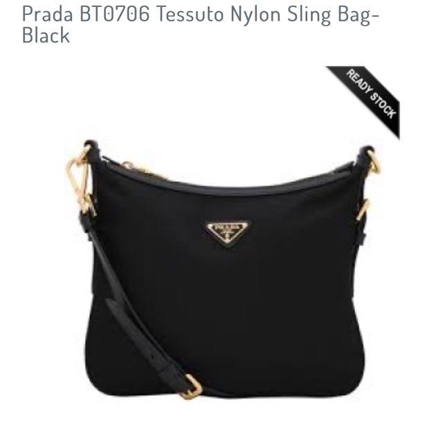 49fb3c19028ac1 ... uk prada bt0706 tessuto nylon sling bag black womens fashion bags  wallets on carousell 5a1bb 803ec