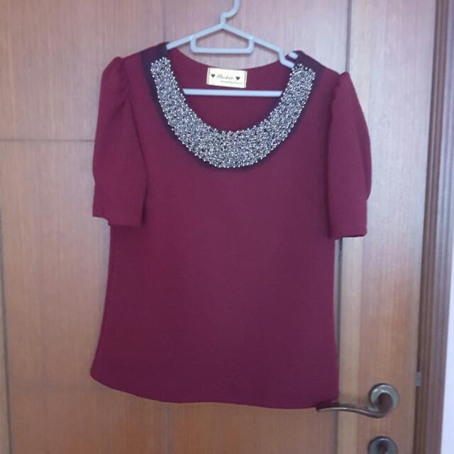 Red Beaded Top
