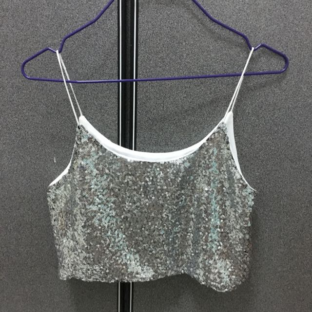 Sequined Glittery Glam Crop Top. In Very Good Condition