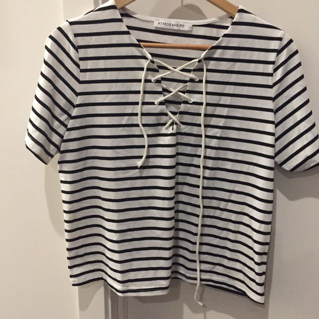 Stripe T - Tie Up Front