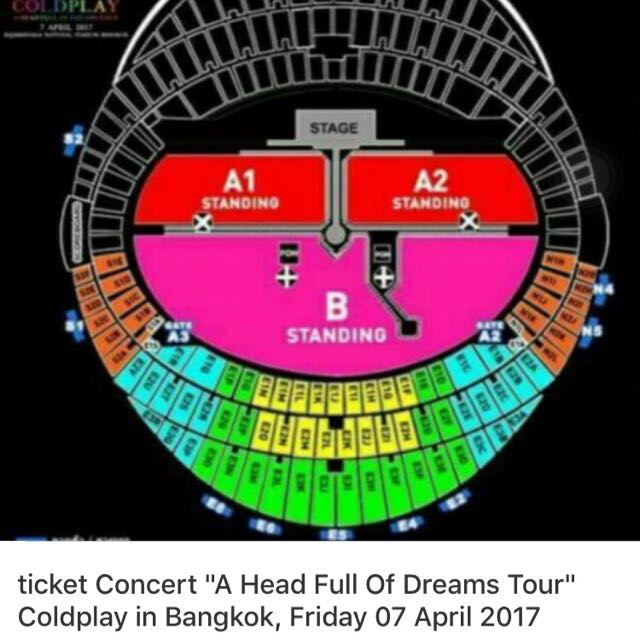 Tiket Coldplay Bangkok 7 Apr 2017