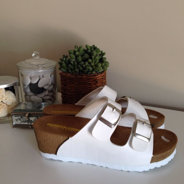 White Wedge 'Birkenstock' Look Sandals
