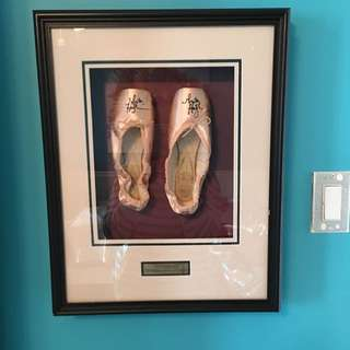 Greta Hodgkinson National Baller Of Canada Signed Ballet Slippers Framed
