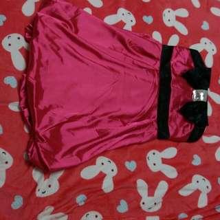 桃紅緞面平口小禮服