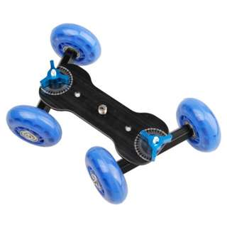 DEBO First Generation Camera Truck / Floor Table Video Slider Track Dolly Car for DSLR Camera / Camcorders (Blue)