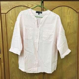 H:CONNECT 韓系寬鬆粉紅雙口袋五分袖上衣(二手九成新)