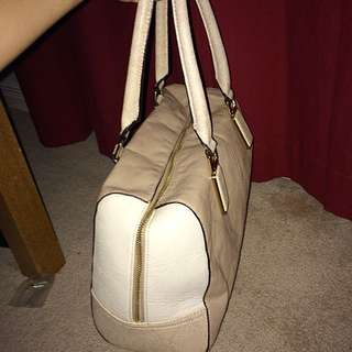 White & Beige ALDO Hand Bag