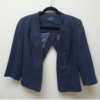 CUE navy linen blazer jacket with overlay panels SIZE 10
