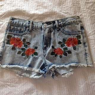 Floral Summer Denim Shorts