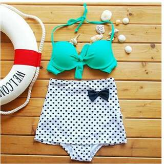 Mint Green Polka Dots High Waist Bikini Set